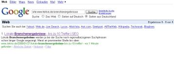 Seite nach 6 Minuten im Google Index